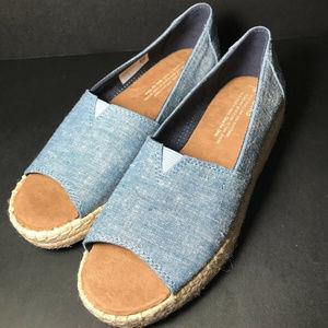 TOMS espadrille platform wedge peep toe shoes